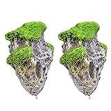 B Blesiya 2 Stück Aquarium Schwimmende Felsen Hängende Steine künstliche Fisch Tank Dekoration