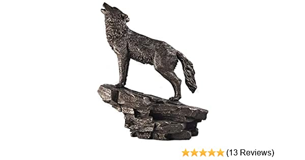BEAUTIFUL COLD CAST BRONZE HOWLING WOLF STATUE FIGURINE FIGUIRE NEW /& BOXED