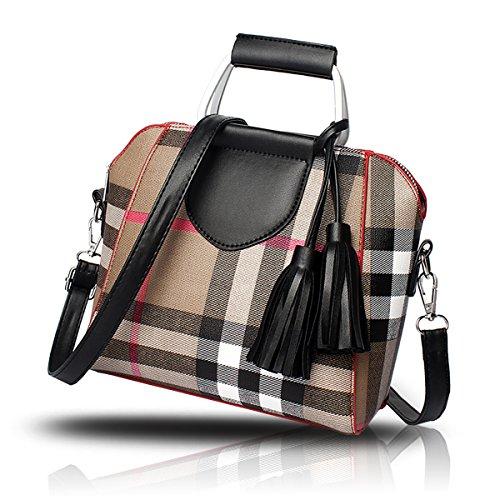 Tisdaini Borse semplici del sacchetto di spalla del raccoglitore della borsa delle nuove donne hanno colpito le borse del sacchetto del messaggero di colore Lattice modello nero