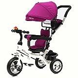 Patrouille de patte de tricycle pour enfants de 4-en-1, vélo de trolley de trolley de mode de haute qualité poussant des trikes pour le vélo de roue de bébé 3 avec l'auvent anti-UV ( Couleur : Violet , taille : A (Inflatable) )