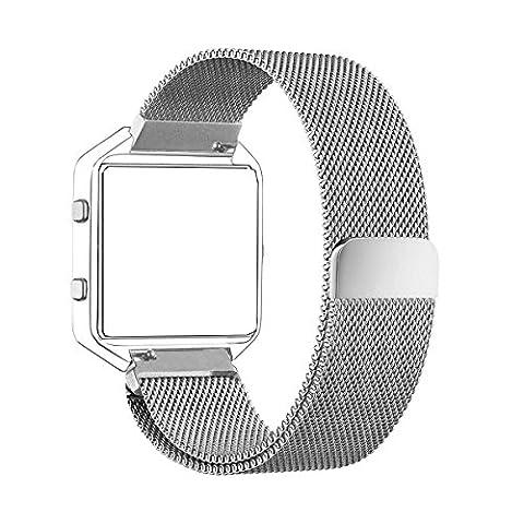 Fitbit Blaze Band (6/7 à 8/1 pouce), PUGO TOP® Milanese boucle en acier inoxydable Bracelet pour Fitbit Blaze montre Smart Watch Fitness, Fitbit Blaze Remplacer Band avec Unique Magnet Lock (argent)