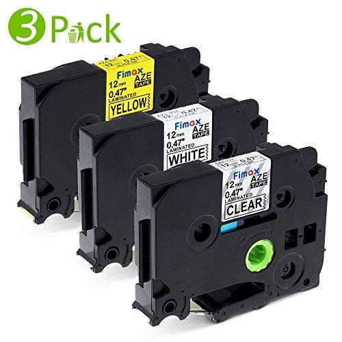 3PK Compatibile Etichettatrice Brother TZe-131 TZe-231 TZe-631 Nastro Laminato per Brother P-Touch h100r | Nero su Trasparente/ Bianco/ Giallo | 12mm x 8m