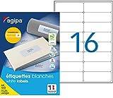 Apli 118985 - 1600 Etiquettes adhésives A4 MU - Mon Timbre en ligne - 99,1 x 33,9 mm Impression : laser, copieur, jet d'encre - Blanc