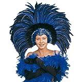 NET TOYS Copricapo Carnevale di Rio con piume blu accessorio per costume ballerina di samba brasiliana -