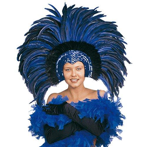 NET TOYS Samba Feder Kopfschmuck Karneval Federschmuck blau Brasilien Federkopfschmuck Rio Kopfbedeckung Sambatänzerin Kostüm Schmuck Showtanz Kopf - Karneval Kostüm Brasilien