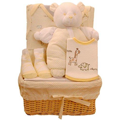 Bee Bo Baby-Geschenk-Set mit Bodysuit, Lätzchen, Socken und Teddy Bear in einem Rattan Basket. 0 - 3 Monate. Erhältlich in Blau, Pink, Creme, Zitrone oder Weiß.