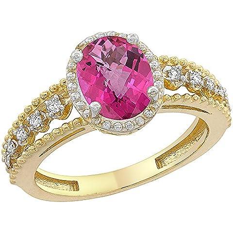 In oro giallo, 14 carati, con topazio ovale ad anello, colore rosa naturale 9 x 7 mm, motivo Floating cristalli, taglie