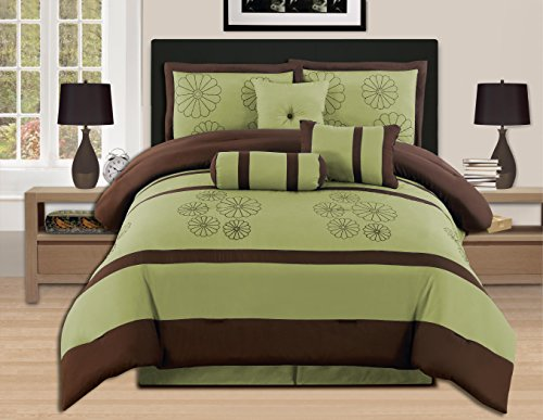 WPM 7-teilig Luxus Stickerei King Sage Brown Tröster Set Bed-in-a-Bag (Oversize) bedding-hs16 -