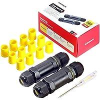 Kabelverbinder Wasserdicht IP68 Verbindungsbox Verbindungsmuffe SAMHUE für Ø4-14mm Kabeldurchmesser 2er-Pack schwarz