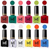 #2: MI Fashion® Non-Toxic Premium Lacquer Longest Lasting Extra Shine Nail Polish Shades of 12 Pcs in Wholesale Rate - Tan,Sea Green,Doll Pink,Passion Pink,Lime Green,Red,Black,Top Coat,White,Yellow,Coral & Sea Blue