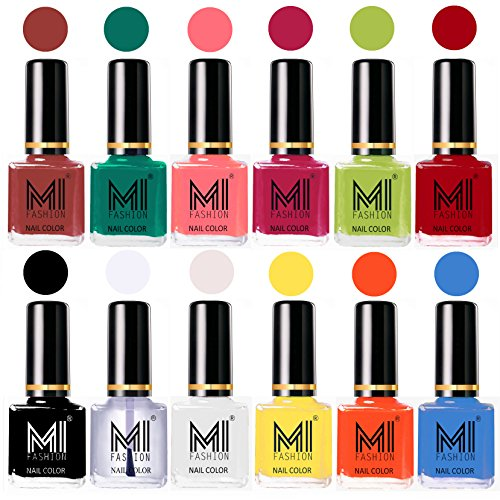MI Fashion® Non-Toxic Premium Lacquer Longest Lasting Nail Polish Shades of 12 Pcs in Wholesale Rate - Tan,Sea Green,Doll Pink,Passion Pink,Lime Green,Red,Black,Top Coat,White,Yellow,Coral & Sea Blue