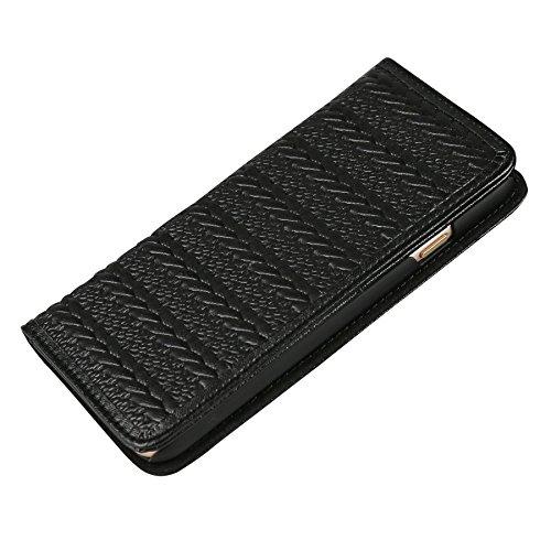 Étui portefeuille iPhone 6S–Ultra Slim Léger Étui pour téléphone portable–Apple iPhone 6(11,9cm)–Parchemin (Couche externe) cuir de vachette (Couche intérieure)-aimant de voyage Portefeuille p noir