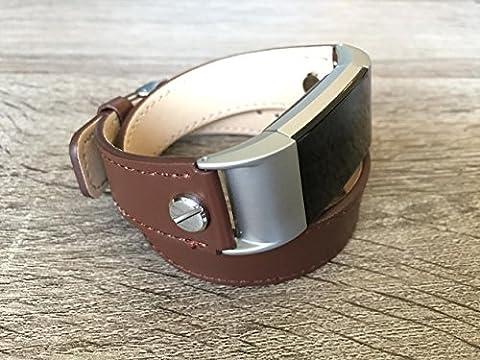 Designer Marron 2tours Eco Friendly Bracelet de cuir pour Fitbit Charge 2avec argent rivets fait à la main de remplacement par BSI