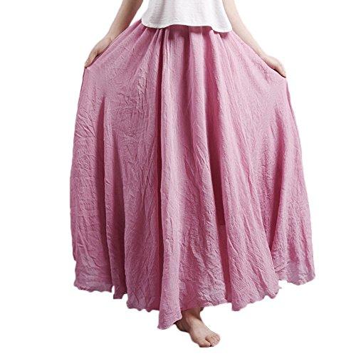 Frauen Einlagige gefalteter Retro- langer Maxi Rock-elastischer Taillen-Rock Koralle Rot