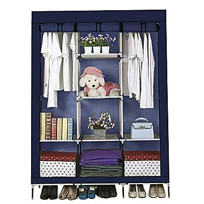 Anmas Box Canvas Wardrobe Bedroom Furniture Cupboard Clothes Storage Organiser 175 x 128 x 46 Cm - low-cost UK light shop.