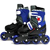 SK8 Zone Boys Blue Roller Blades Inline Skates Adjustable Size Childrens Kids Pro Skating New (Large 3-6 (35-38 EU))