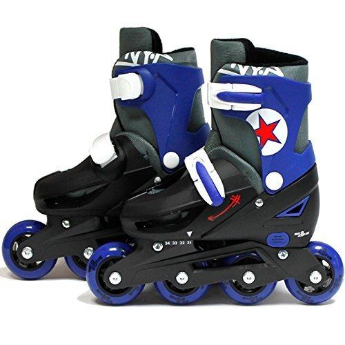 SK8 Zone Jungen Blau Roller Klingen Inlineskates Verstellbare Größe Kinder Pro Skating Neu - Large 3-6 (35-38 EU) - Roller 5 Skates Größe Für Kinder