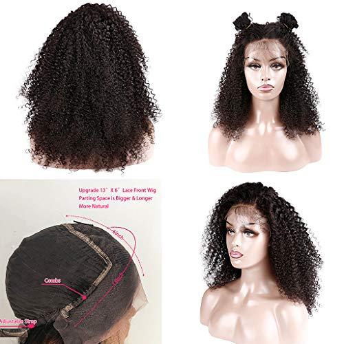 Upxiang 60 cm Lace Front Afro Damen Perücken Schwarz Lang Natürlich Lockige Gewellt Verstellbar Volle Wig Halloween Cosplay Kostüm Karneval Fasching Party Synthetische Haar (Schwarzes Lockiges Haar Kostüm)