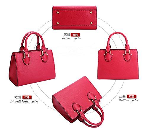 Xinmaoyuan Borse donna Ms. sezione trasversale del pacchetto Platinum di vacchetta colore solido borsetta grande pacchetto di capacità,Nero Rosso