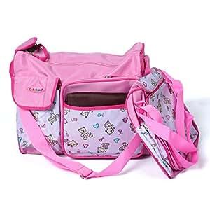 Baby Bucket Diaper Bag/Baby Bag/Mummy Handbag 3pcs/set Colorland Baby Diaper Bag Nappy Mummy Bag Maternity Handbag Changing Bag(Pink)