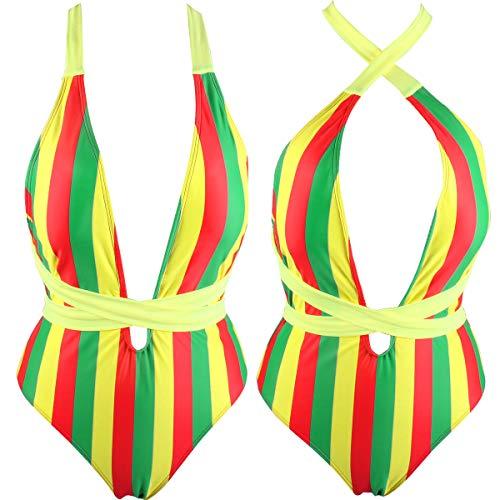 VOARYISA Damen Einteiler Karibik Flagge Rasta Body Shaping Monokini Badeanzug Badeanzug Badeanzug - Braun - 38 DE/40 DE (M) - 2