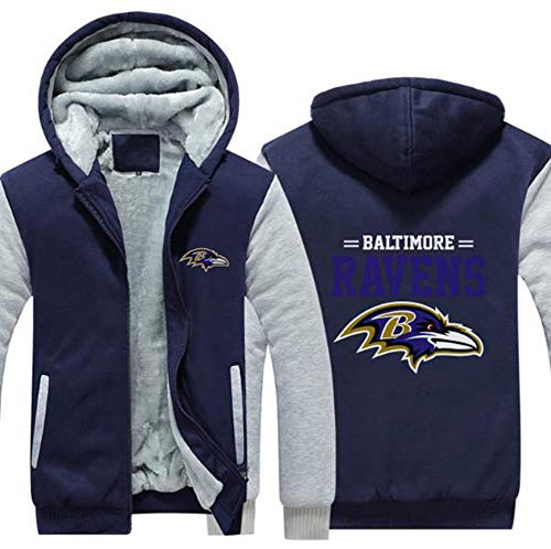 CCL NFL Football Kleidung Baltimore Ravens Trainingsanzug Verdickung Plus Samt Zipper Kapu,D,4XL