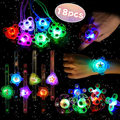 LEEHUR Birthday LED Party Favours or Kids 18pcs Light Up Glow in the Dark Toy Bling Flashing Hand Spin Ring Necklace Bracelet for Girl Class Prize Halloween Christmas Party Supplies Gift Stress Relief