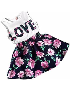 Vestido de niña, RETUROM Cartas de amor de la muchacha de la manera imprimieron el chaleco sin mangas con la ropa...