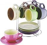 13-tlg. Tassen-Set mit Ständer - Keramik - Tassen - Teetassen - Kaffeetassen - Geschirr - Tasse - Becherset - Becher - Kaffeebecher