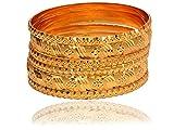 #8: Mansiyaorange Traditional Fancy Designer Casual Party Wedding Wear Original Hand Work One Gram Gold Six Golden Bangles Set For Women Stylish