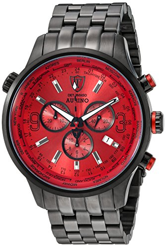 DETOMASO Aurino Men's Quartz Watch with Red Dial Analogue Display and Black Stainless Steel Bracelet Dt1061-B