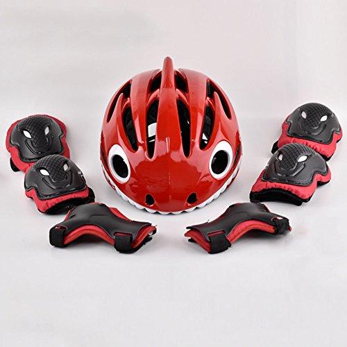 WX xin Kind Helm Kleiner Hai Radfahren Gleichgewicht Auto Schlittschuh Rollschuhlaufen Schutzausrüstung 7 Stück/Sätze (Farbe : 4, größe : Xs)