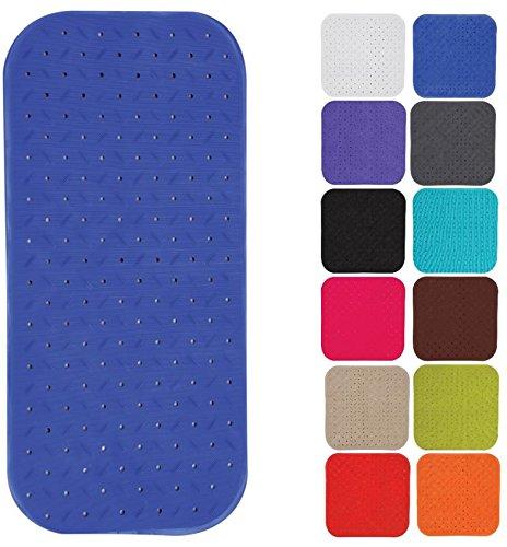 MSV Premium Duschmatte Badematte Badewannenmatte Badewanneneinlage antibakteriell rutschfest mit Saugnäpfen - Blau - duftet nach Rosen - ca. 36 x 97 cm - waschbar bei 60° Grad