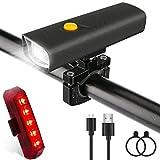 Luxebell Fahrradlicht, USB LED Fahrradbeleuchtung Set mit 2600 mAh Akku, inkl. Front- und Rücklicht, IPX6 wasserdicht Fahrradlampe, Batteriebeleuchtungssets