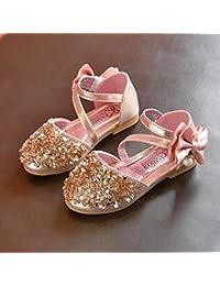 JullyeleESgant Primavera otoño niños niñas Zapatos Bowknot niños Princesa Sandalias Antideslizantes Brillantes Bailarinas de Baile Zapatos de Vestir para niños