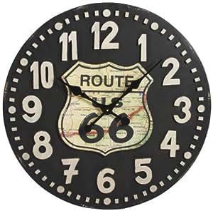 Horloge murale en bois Route 66