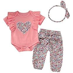 Ropa Bebe Niña Recién Nacido Niña Peleles Monos de Manga Corta + Floral Pantalones + Venda de Pelo,0-18 Meses Bebé Ropa (3-6 Meses, Rosa)