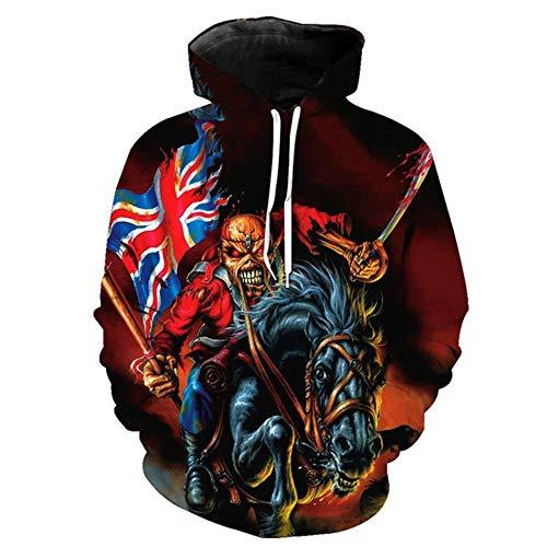 Design Persönlichkeit 3D-Druck Pullover Horror-Serie Schädel Stil Herren Sweatshirts Zombie Knight British Flag Fashion Hoodie Pullover, als das Bild, XS