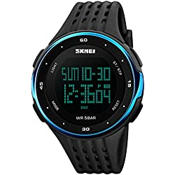 Mens Boys Watches Digital Sports Watch Electronic Military Divers Watch 50M Waterproof Electronics LED Lights Black Rubber Band Simple Fashion Design Business Casual Watches for Men Blue Case