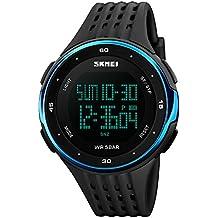 CIVO Relojes de los Hombres Chicos Electrónico 50m Impermeable Militar Reloj Deportivo LED Luz Reloj de Buceo para Hombre Multifunción Digital Relojes Dial Oro Azul Correa de Goma