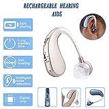 Mini aide auditive numérique, Casque sans fil rechargeable pour amplificateur de son pour le transport des personnes âgées modérées à graves