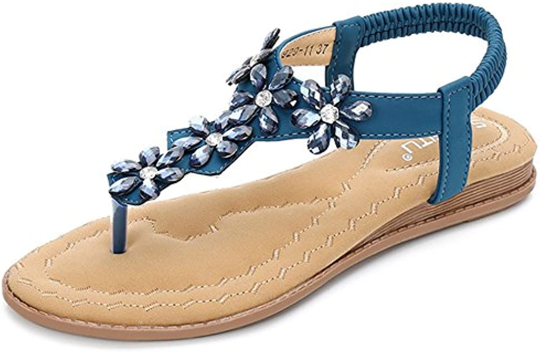 les fleurs d'été strass, sandales clip toe des sandales cheville bohémien flip flop style bohémien cheville flat chaussures de plage b10b33