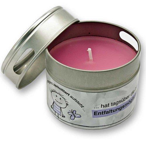 Design@Home Duftkerze Kerze weiß Wer morgens zerknittert aufsteht hat tagsüber die besten Entfaltungsmöglichkeiten