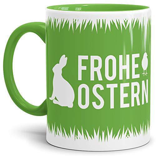 Tassendruck Oster-Tasse Frohe Ostern Innen & Henkel Hellgrün/Ostern / Wiese/Schön / Kaffeetasse/Oster-Geschenk Qualität - 25 Jahre Erfahrung