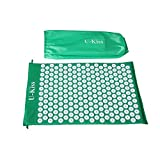 U-kiss set of acupressure mat and acupressure pad, non-toxic and TÜV-tested, in black and green, Grün (ohne Kissen)