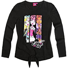 Tee shirt manches longues fille + noeud Monster High Noir 12ans