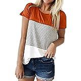 Blusas Camisetas Mujer Verano, MINXINWY Camisetas Mujer Manga Corta Camiseta Casual de Mujeres Camiseta Playa de Viaje Top Cosido en Color Liso Top Rayas 2019
