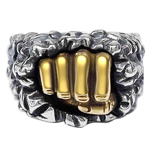 ZHOUYF RING Verlobungsringe Rock Punk Style Herren Ring 925 Sterling Silber Ringe Männliche Faust Form Vintage Thai Silber Biker Schmuck
