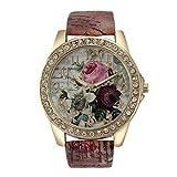 PLOT Damen Quarzuhr Mit Lederarmband | Uhren Mit Bohrer | Armbanduhren Für Frauen | Geschenke Für Frauen | Einstellbar Uhrenband | Quarzwerk | 18mm Bandbreite | 40mm Gehäusedurchmesser (Braun)