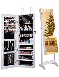 Camabel Gabinete de joyería con Espejo 152x36.5x10cm Espejo con Cerradura con Espejo y Espejo Interior Plegable para Maquillaje Blanco
